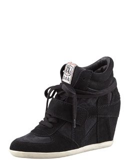 Ash Suede Wedge Sneaker, Black