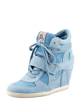 Ash Suede & Canvas Wedge Sneaker, Denim