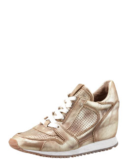 Ash Metallic Leather Low-Top Wedge Sneaker