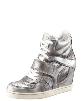 Ash Metallic Leather High-Top Wedge Sneaker