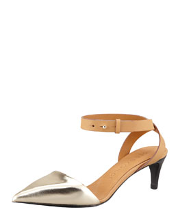 See by Chloe Metallic Leather Kitten-Heel Pump