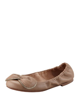 See by Chloe Zipper-Bow Scrunch Ballerina Flat, Powder