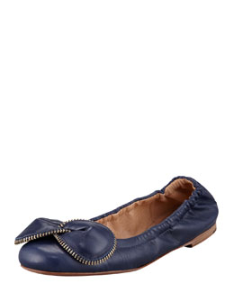 See by Chloe Zipper-Bow Scrunch Ballerina Flat, Navy
