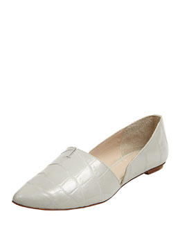 Elizabeth and James Merri Croc-Embossed d'Orsay Flat