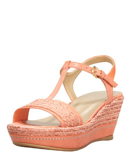 Stuart Weitzman Flatty Raffia Braided Wedge Sandal, Peach