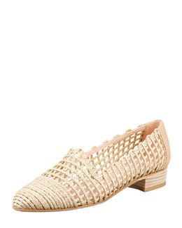 Stuart Weitzman Intermez Flat Woven Twine Loafer, Neutral