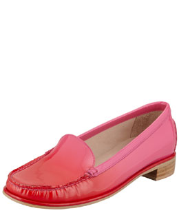 Stuart Weitzman Mach2 Ombre Patent-Leather Loafer, Red/Pink