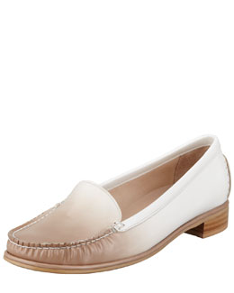 Stuart Weitzman Mach2 Ombre Patent-Leather Loafer, Sand/White