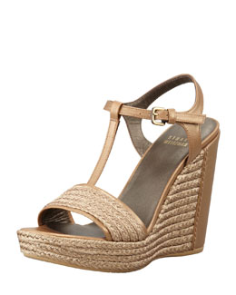 Stuart Weitzman Braided Raffia Wedge Sandal
