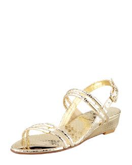 Stuart Weitzman Rolldown Metallic Micro-Wedge Sandal, Pale Gold