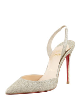 Christian Louboutin Ever Glitter Slingback Red Sole Pump, Platine
