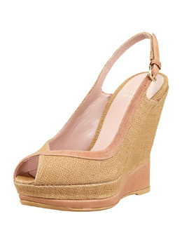 Stuart Weitzman Canvas Wedge Slingback, Natural