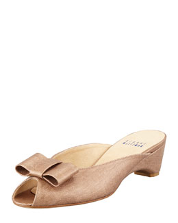 Stuart Weitzman Candy Shimmery Linen Slip-On Wedge, Copper