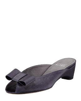 Stuart Weitzman Candy Shimmery Linen Slip-On Wedge, Ink Navy