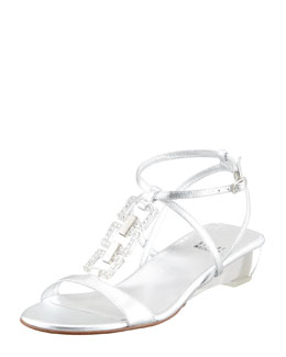 Stuart Weitzman Metallic Low-Wedge Sandal, Silver