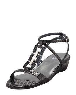 Stuart Weitzman Patent Leather Low-Wedge Sandal, Black