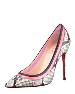 Christian Louboutin Paulina Colorblock Python Red-Sole Pump