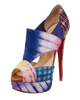 Christian Louboutin Pitou Cutout Printed Red Sole Bootie
