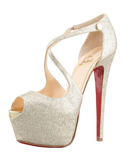 Christian Louboutin Exagona Glitter Crisscross Red Sole Pump, Gold