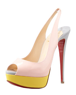 Christian Louboutin Lady Peep-Toe Colorblock Red Sole Slingback, Pink/Canari