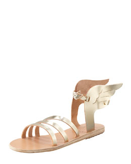 Ancient Greek Sandals Ikaria Winged Vachetta Flat Sandal, Platinum