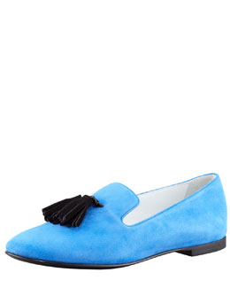 Giuseppe Zanotti Tasseled Suede Smoking Loafer, Blue