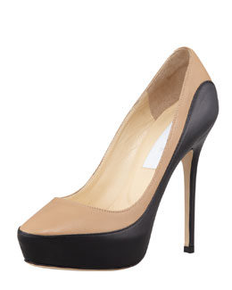 Jimmy Choo Sepia Kidskin-Napa Colorblock Platform Pump, Black/Nude