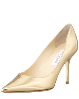 Jimmy Choo Agnes Mirror Leather Pointed Toe Pump, Pure Gold