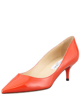 Jimmy Choo Aza Low-Heel Patent Pump, Tangerine