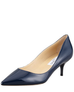 Jimmy Choo Aza Low-Heel Patent Pump, Navy