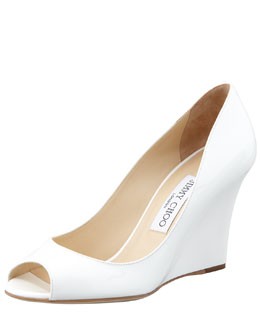Jimmy Choo Baxen Peep-Toe Patent Wedge, White