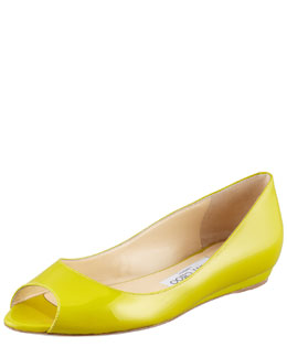 Jimmy Choo Beck Patent Leather Open-Toe Ballerina, Citrine
