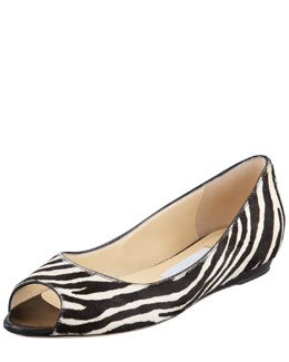 Jimmy Choo Beck Zebra-Print Calf Hair Flat