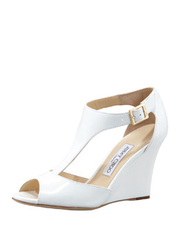 Jimmy Choo Token Patent T-Strap Wedge Sandal, White