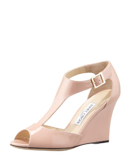 Jimmy Choo Token Patent T-Strap Wedge Sandal, Blush