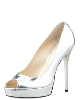 Jimmy Choo Crown Mirror Open-Toe Leather Pump