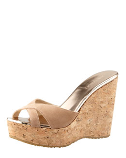 Jimmy Choo Perfume Cork Wedge Slide, Nude