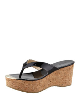Jimmy Choo Pathos Patent Leather Cork Thong Sandal, Black