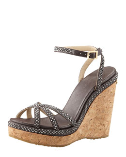 Jimmy Choo Prance Shimmer Cork Wedge