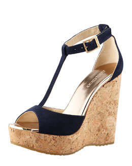 Jimmy Choo Pela Suede Cork Wedge Sandal