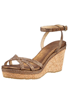 Jimmy Choo Prose Crystal-Embellished Ankle-Wrap Cork Wedge
