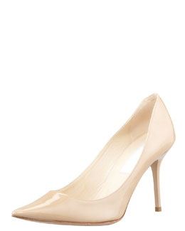 Agnes Pointed-Toe Patent Pump, Nude