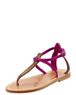 K. Jacques Buffon 2-Tone Strappy Thong Sandal