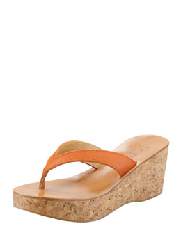K. Jacques Diorite Cork Wedge Thong, Mandarin Orange