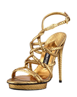 Tom Ford Metallic Python Platform Sandal
