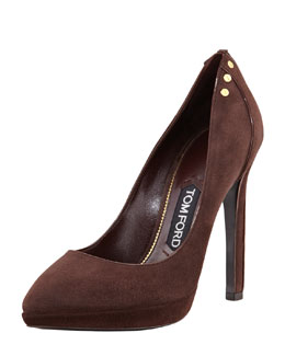 Tom Ford Screw-Studded Suede Pointed-Toe Pump
