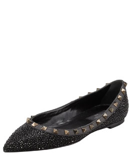 Valentino Rockstud Crystal-Covered Ballerina Flat