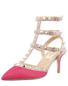 Valentino Rockstud Two-Tone Pointed Toe Pump, Fuchsia