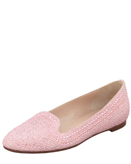 Valentino Studded Suede Smoking Slipper, Gardenia