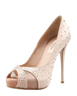 Valentino Crystal-Covered Satin Pump